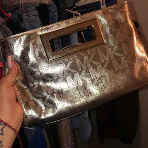 Michale Kors Gold mirrored clutch